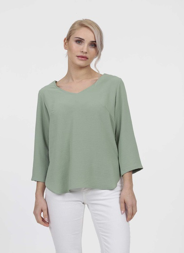 Vitrin Arkada Bant Detaylı Bluz Yeşil